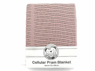 Cellular Cotton Pram Blanket 75 x 100 cm Color Pink