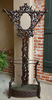 Antique Carved Walnut Black Forest Hall Tree Umbrella Stand Mirror Coat Rack