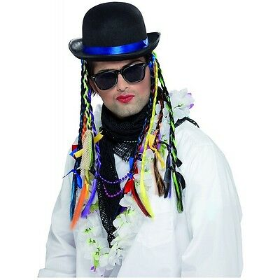 Boy George Hat with Braids Costume Accessory 80s Halloween Fancy Dress