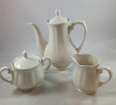 Sears Harmony House Federalist White Ironstone Coffee Pot Creamer Sugar Bowl