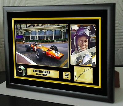 "Bruce McLaren F1 Monaco 1969 Framed Canvas Print Signed ""Great Gift or Souvenir"""