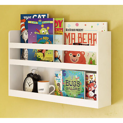 Children's Kids Room Wall Shelf Wood  Bunk Bed Nursery Room Books and Toys White