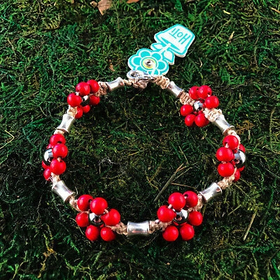 HOTI Hemp Handmade Natural Red Flower Wood Bead Floral Anklet Ankle Bracelet NWT