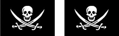 2x PIRATE JOLLY ROGER FLAG DECALS / STICKERS
