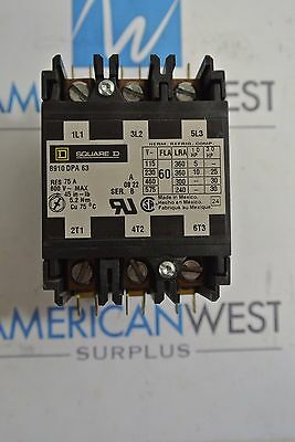 8910DPA63 SQUARE D 3P 600V 60 AMP Definite Purpose Contactor 120v coil TESTED