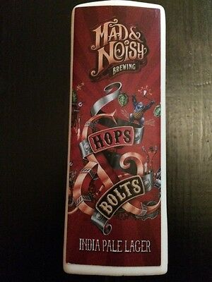 Mad & Noisy Brewing Hops & Bolts IPA Tap Handle Beer Keg Pull Draft NEW Rare