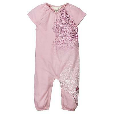 Burts Bees Baby Girl Organic Pink Floral Ombre Coverall Size 12 18 24 Months