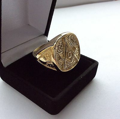 Large Ring-Solid 9Ct Gold- Masonic -Size U Heavy 22 Gms