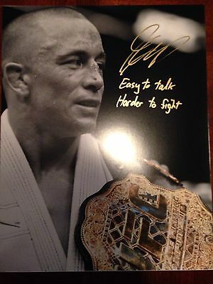 Georges RUSH St Pierre 11x14 RARE Inscription Signed Autograph Glove COA GSP UFC