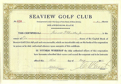 NEW JERSEY, Seaview Golf Club Stock Certificate,  1917, #650, 1 Share