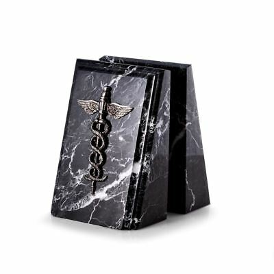 Bey-Berk Model R19M Medical Caduceus Marble Bookends