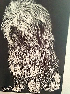 Old English Sheepdog ACEO PRINT Scratch Board Dog Art Miniature Signed