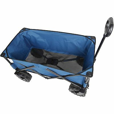 Folding Utility Wagon All Terrain Beach Garden Shopping Foldable Blue Cart New