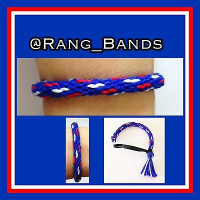 Rangers Red, White and Blue adjustable cotton friendship wristband