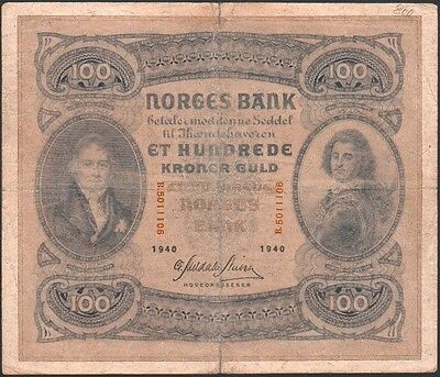 "Norway 100 Kroner 1940 - Series: B.5011106  - ""G"""