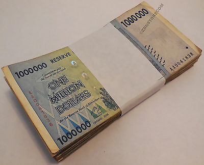 1 Million Dollars Zimbabwe x 100 Banknotes AA AB 2008 Bundle Lot Before Trillion