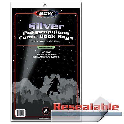 100 BCW Silver Age Comic RESEALABLE Bags / Sleeves 7 1/8 x 10 1/2 Poly Acid-Free