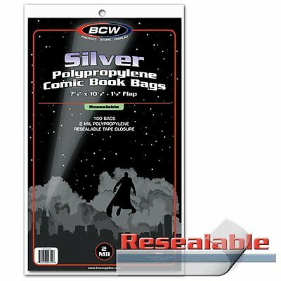 100 BCW Silver Age Comic RESEALABLE Bags / Sleeves AND 100 Backing Boards
