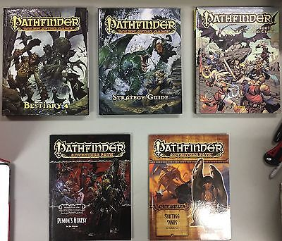 Pathfinder Lot Hardcover Strategy Guide, Bestiary, Gn Collection, + Adv Paths