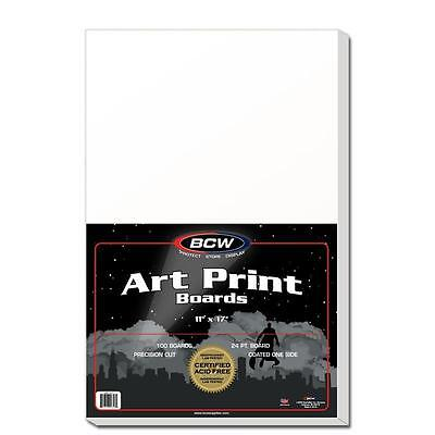1 Pack of 100 BCW 11 x 17 Acid Free Art Print Backing Boards 11x17 White Backer