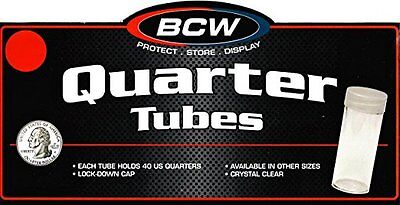 20 BCW Round Clear Plastic Quarter 24 mm Coin Tubes w/ Screw-On Cap
