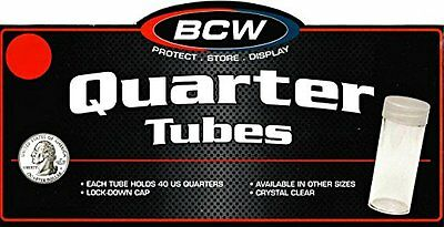 50 BCW Round Clear Plastic Quarter 24 mm Coin Tubes w/ Screw-On Cap