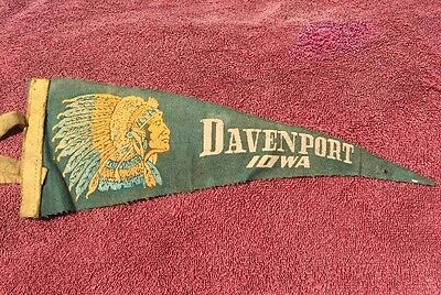 "Vintage Davenport Iowa Mini Pennant 11.5"" Long Indian Chief Head"