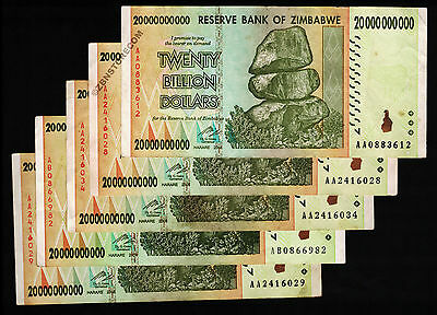 20 Billion Zimbabwe Dollars x 5 Bank Notes AA AB 2008 Currency Paper Money Lot