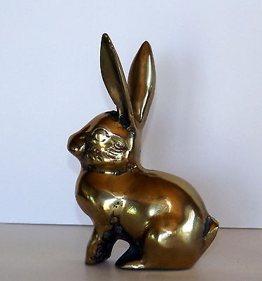 "Vintage Brass Rabbit Figurine, Paperweight, Home Decor 4 3/4"" Tall, 1.75"" x 3.25"