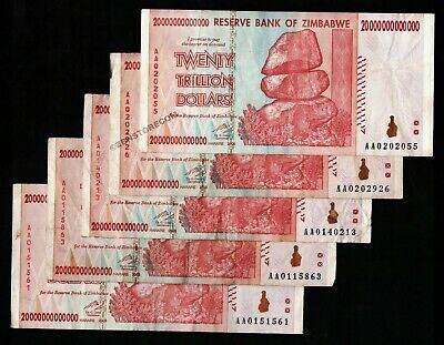 20 Trillion Zimbabwe Dollars x 5 Banknotes AA/2008 Authentic Paper Currency 5PCS