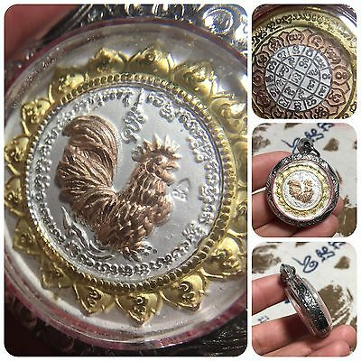 Beautiful Kai Chicken Lp Sruang Rooster Amulet Talisman Luck Rich Protect