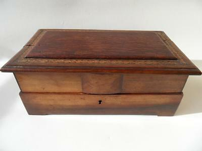 Antique Wooden Jewellery Chest Or Sewing Box
