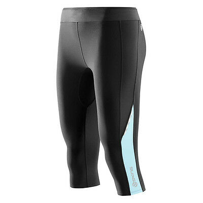 Skins A200 Women's Compression Thermal 3/4 Tights Black/Glacier Large