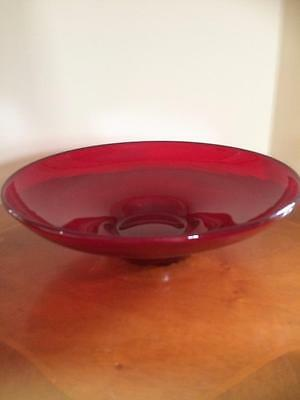 Vintage Retro Large Ruby Red Whitefriars Glass Bowl