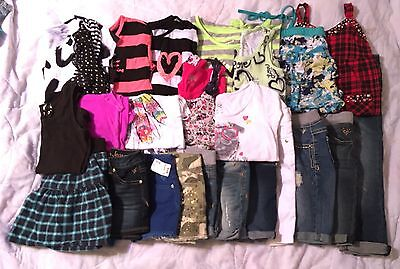 Girl's ALL Justice Summer Clothes Lot~Shorts/Shirts/Capris/Skirt Size 8 10S Slim