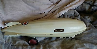 Vintage Steelcraft Pressed Steel USS Akron Blimp Zeppelin Airship Pull Toy