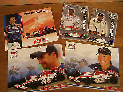 Lot of 5 IndyCar Series 2008 Driver Cards Rice - Bell - Manning - Foyt - Mutoh