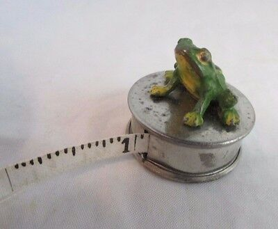 RARE ANTIQUE silver  mini FROG or TOAD TAPE MEASURE