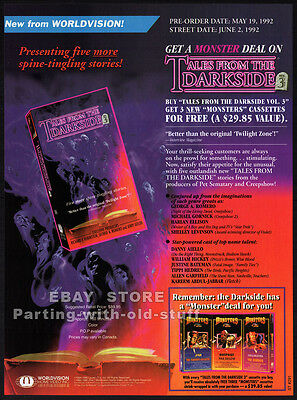 TALES FROM THE DARKSIDE / MONSTERS__Original 1992 TV Series video Trade AD promo