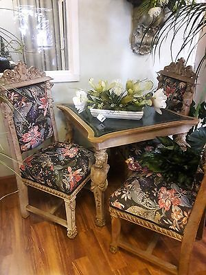 Rennaissance Style Antique Chairs, with table, 1890's Neoclassic, Hand Carved
