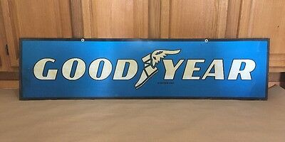 Good Year tin Sign 2 sided 1980s Hanging Service Garage Tires Gas Oil goodyear