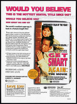 GET SMART, AGAIN!__Original 1993 Trade AD movie promo__DON ADAMS__BARBARA FELDON