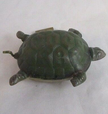 RARE ANTIQUE painted metal TURTLE or TORTOISE wind-up TAPE MEASURE
