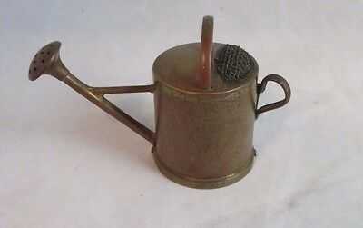 ANTIQUE brass combo WATERING CAN wind-up TAPE MEASURE & PIN CUSHION