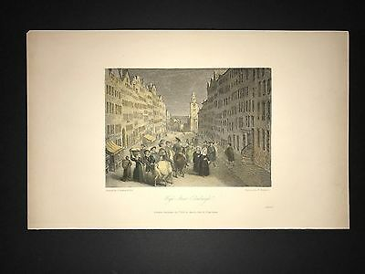 High Street Edinburgh Scotland 1831 Hand Colored Engraving