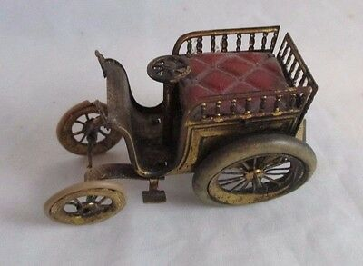ANTIQUE brass Open Top CAR wind-up TAPE MEASURE with wheels in tact
