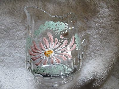 Antique Victorian Hand Painted Small Flowered Clear Glass Pitcher