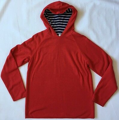 HANNA ANDERSSON Reversible Sweater Hoodie Red Navy White Stripe 160 12 Teen