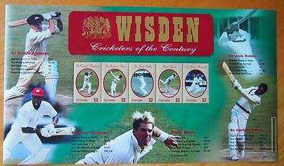 Wisden Cricketers Of The Century Mint Stamp Sheet Postal Tribute-All 5 Cricketer