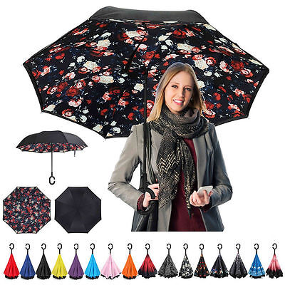 C-Handle Parasols Folding Rain Windproof Umbrella Double Layer Inverted Reverse